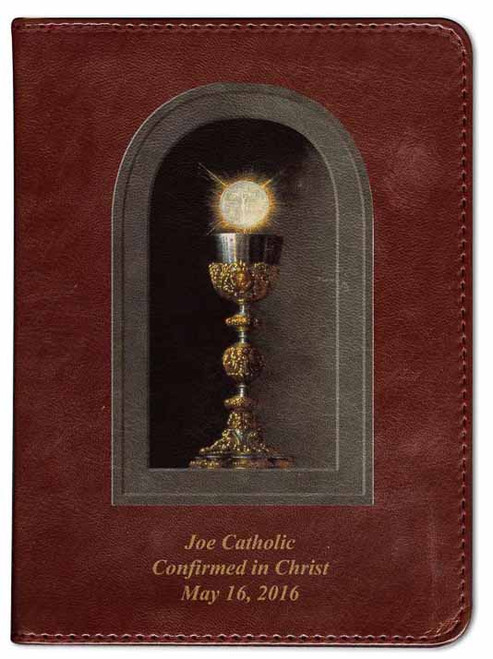 Personalized Catholic Bible with Eucharistic Cover - Burgundy RSVCE