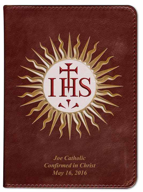 Personalized Catholic Bible with Jesuit IHS Cover - Burgundy RSVCE