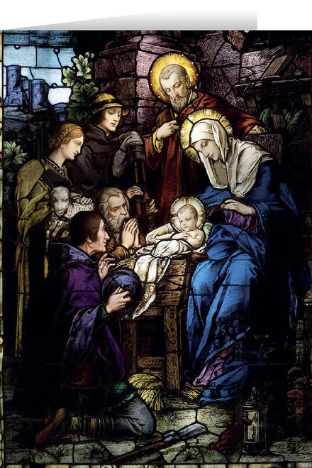 Nativity Stained Glass Christmas Cards (25 Cards)