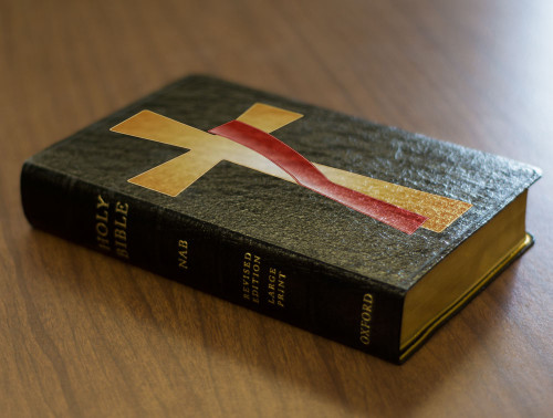 Personalized Catholic Bible with Deacon's Cross Cover - Black Genuine Leather NABRE