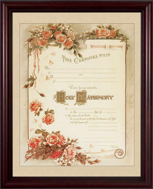 Certificate of Matrimony Cherry Framed