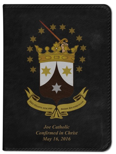 Personalized Catholic Bible with Ancient Carmelite Crest Cover - Black NABRE