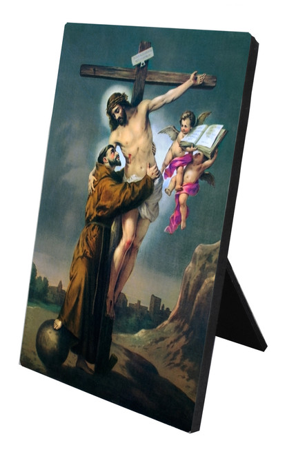 St. Francis with Christ Vertical Desk Plaque