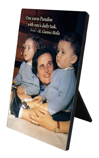 St. Gianna Molla in Library Vertical Desk Plaque
