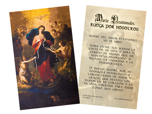 "Spanish Mary Undoer of Knots ""Madre del Amor"" Prayer Holy Card"