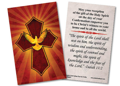 Holy Spirit Cross Confirmation Holy Card