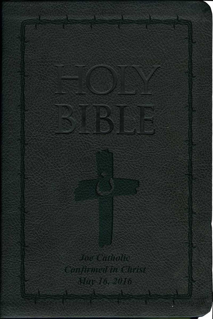 Laser Embossed Catholic Bible with Orange Cross Cover - Black NABRE