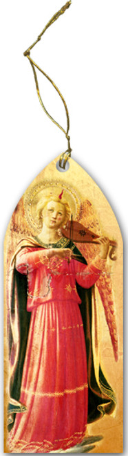 Fra Angelico Angel with Violin Stained Glass Wood Ornament