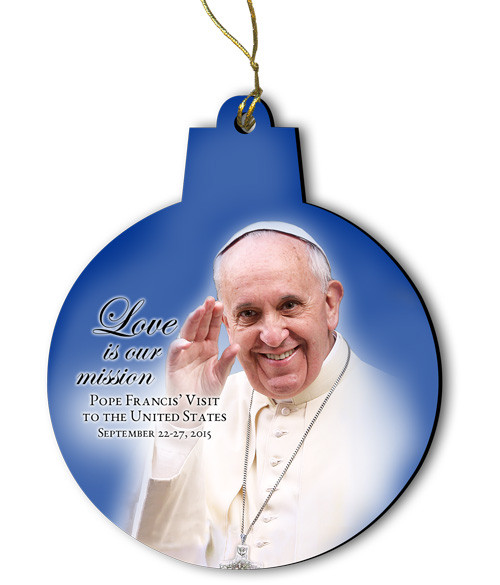 Love is our Mission Pope Francis Visit Round Wood Ornament