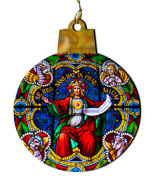 Sacred Heart of Jesus Reigning Stained Glass Wood Ornament
