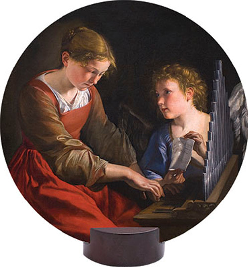 St. Cecilia Round Desk Plaque