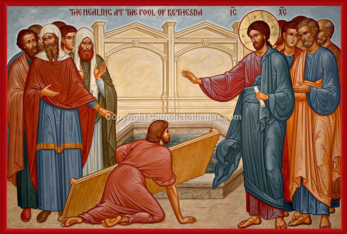 The Healing at the Pool of Bethesda Icon Wall Plaque