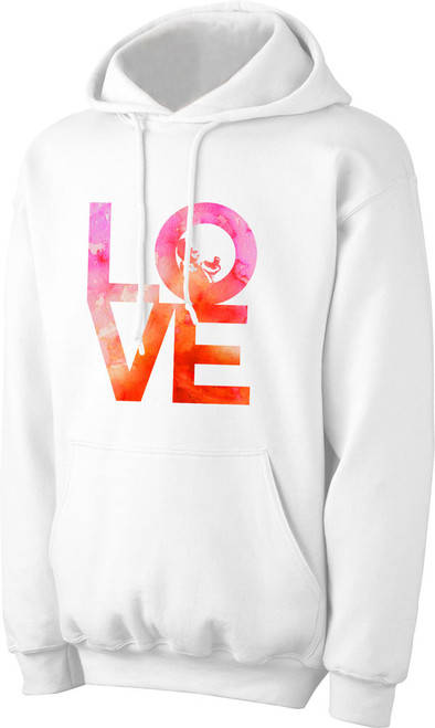 Love with Baby White Pro-Life Hoodie Watercolor