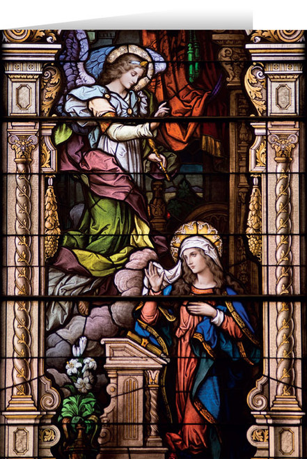 Annunciation Stained Glass Christmas Cards  (25 Cards)