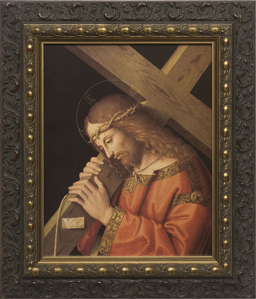 Christ Bearing the Cross Canvas - Dark Ornate Framed Art