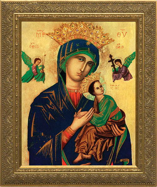 Mother of Perpetual Help Canvas - Gold Framed Art