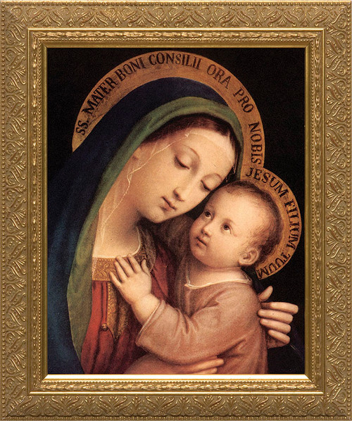 Our Lady of Good Counsel Canvas - Gold Framed Art