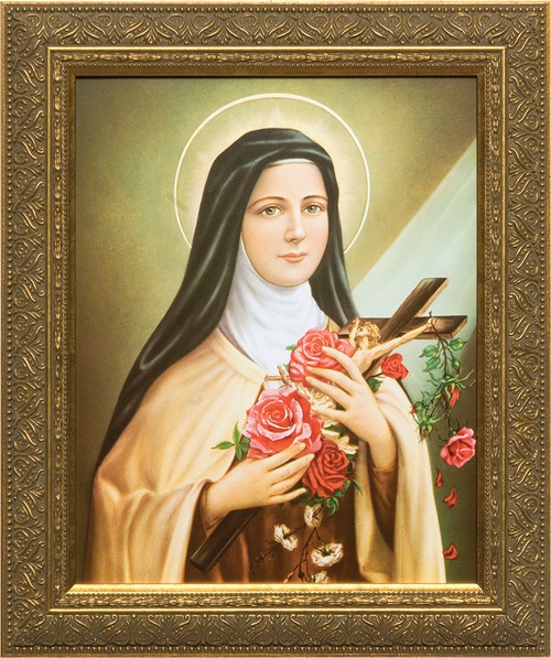 St. Therese of Lisieux Canvas - Gold Framed Art