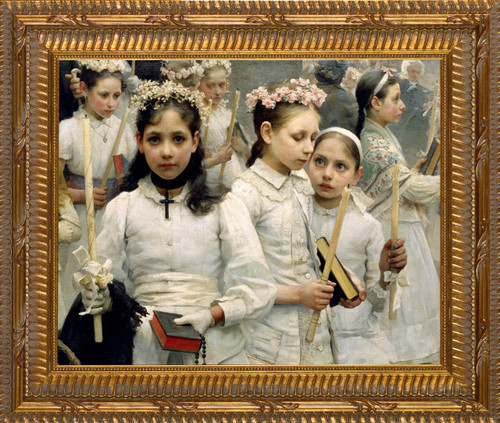 After the First Holy Communion (Detail 3 Girls) Canvas - Ornate Gold Framed Art