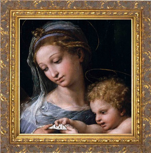 Madonna della Rosa (Detail) Canvas - Ornate Gold Framed Art