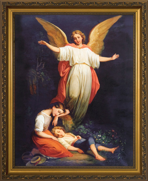 Guardian Angel with Children Resting Canvas - Standard Gold Framed Art