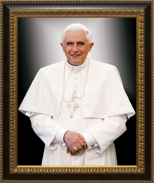Pope Benedict Formal Canvas - Ornate Dark Framed Art