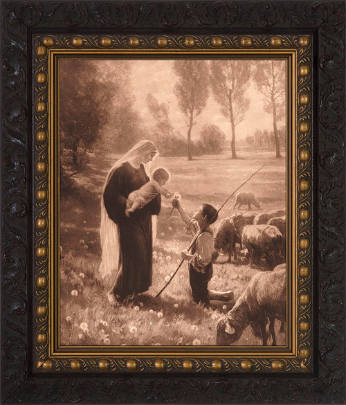 Gift of the Shepherd Canvas - Ornate Dark Framed Art