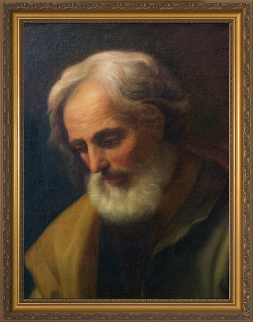 St. Joseph by Guido Reni Canvas - Standard Gold Framed Art
