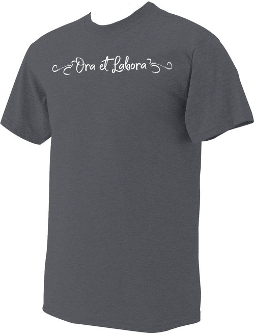 """Ora et Labora"" Heather Charcoal T-Shirt"