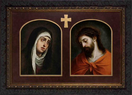 Dolorosa and Ecce Homo by Murillo Matted - Ornate Dark Framed Art