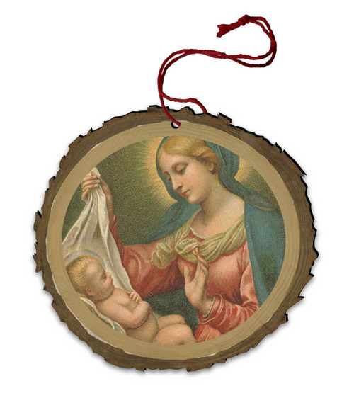 Vintage Madonna with Holly Wood Ornament
