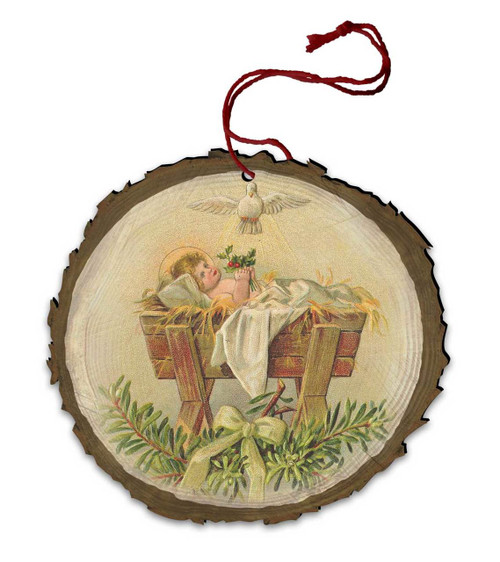 Vintage Baby Jesus in Manger with Holy Spirit Wood Ornament