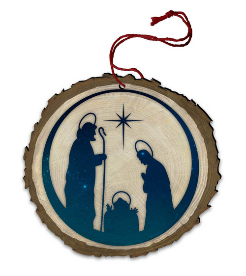 Vintage Nativity Wood Ornament