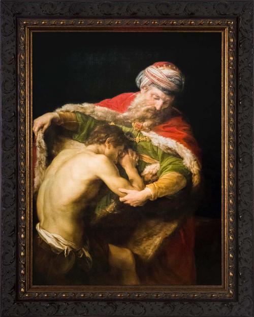The Return of the Prodigal Son by Pompeo Batoni - Ornate Dark Framed Art