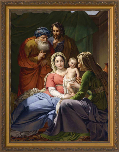 Holy Family with Grandparents Joachim and Anne - Gold Framed Art