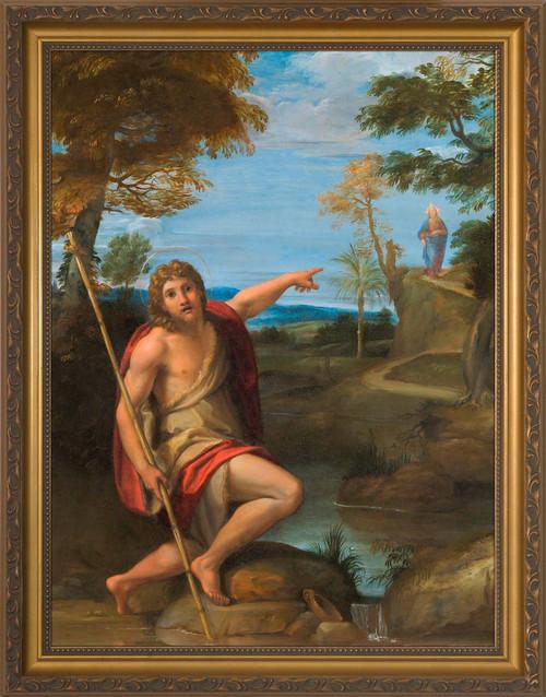 Saint John the Baptist Bearing Witness by Annibale Carracci - Gold Framed Art