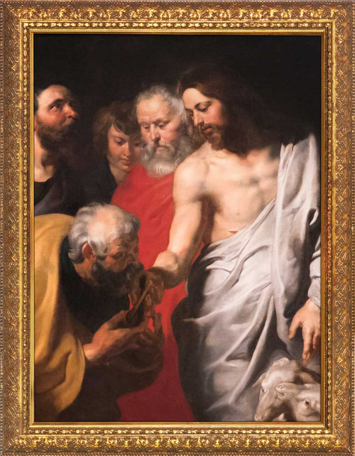 Christ Giving the Keys to St. Peter by Peter Paul Rubens - Gold Framed Art