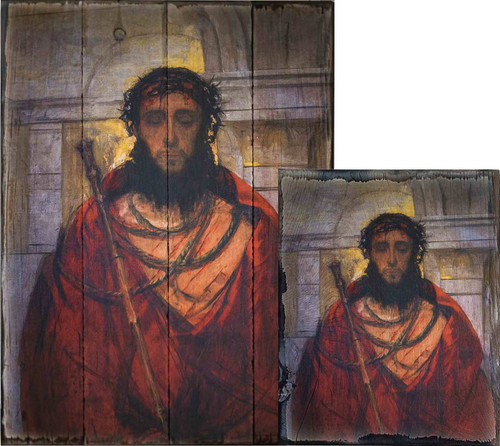 Ecce Homo by St. Albert Chmielowski Rustic Wood Plaque