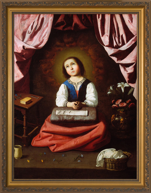 The Young Virgin by Francisco de Zurbarán - Gold Framed Art