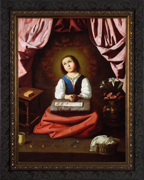 The Young Virgin by Francisco de Zurbarán - Ornate Dark Framed Art