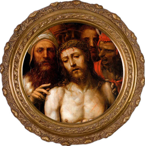 Christ Presented to the People by Il Sodoma Canvas - Round Framed Art