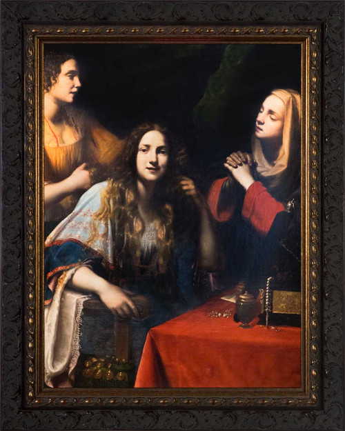 Martha Reproaching Mary Magdalene by Francesco Lupicini - Ornate Dark Framed Art
