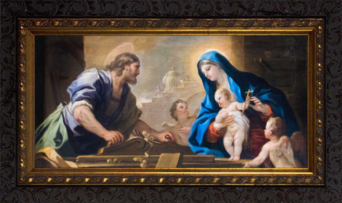 Holy Family with Joseph at the Workbench by Luca Giordano - Ornate Dark Framed Art