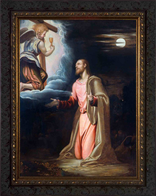 Christ in the Garden by Simone Peterzano - Ornate Dark Framed Art