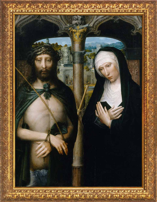 Christ Crowned with Thorns, and the Mourning Virgin by Adriaen Isenbrant - Gold Framed Art