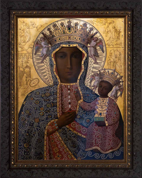 Black Madonna of Czestochowa - Ornate Dark Framed Art