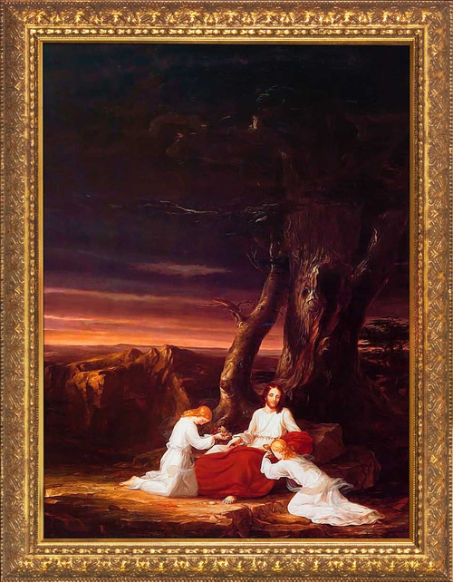 Angels Ministering to Christ in the Wilderness by Thomas Cole - Gold Framed Art