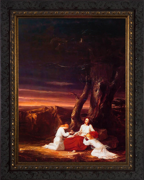 Angels Ministering to Christ in the Wilderness by Thomas Cole - Ornate Dark Framed Art
