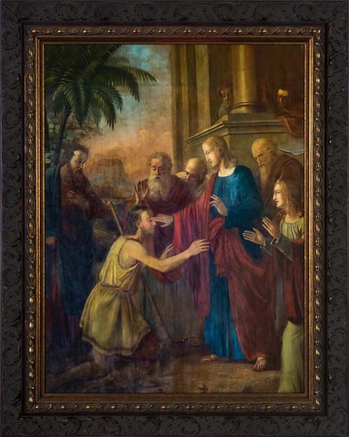Christ Healing the Blind Man - Ornate Dark Framed Art