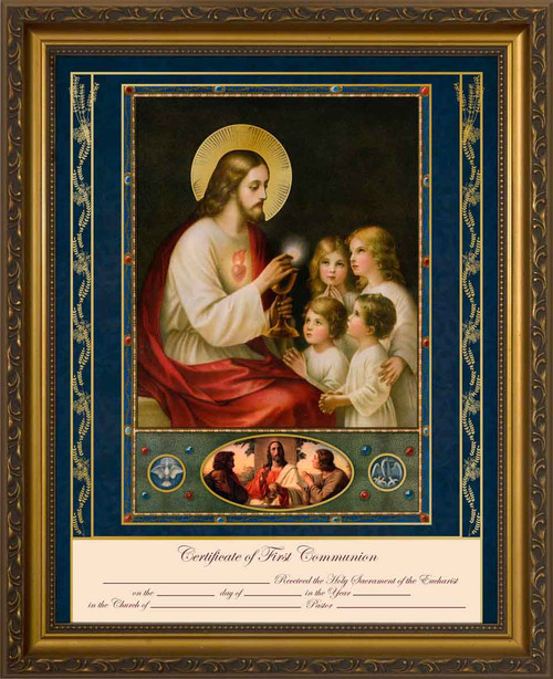Traditional First Communion Certificate with Gold Accents in Gold Frame